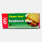 011. Zipper Seal Sandwich Bags - 35 count