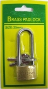 265. 25mm Long Shank Brass Padlock