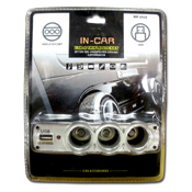 034. USB & Triple Socket Car Adapter